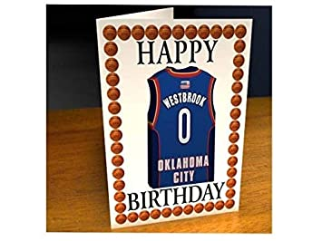 Tarjetas de cumpleaños con diseño de camiseta de baloncesto de la NBA (personalizable), color Oklahoma City Thunder NBA Basketball Greeting Card: Amazon.es: ...