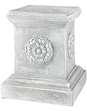 Design Toscano Engelse rozet sculptuur sokkel voor de tuin basislifter, polyresin, antiek steengrijs, groot 33 cm