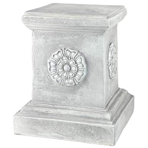 - Design Toscano English Rosette Sculptural Garden Plinth Base Riser, Large 13 Inch, Polyresin, Antique Stone