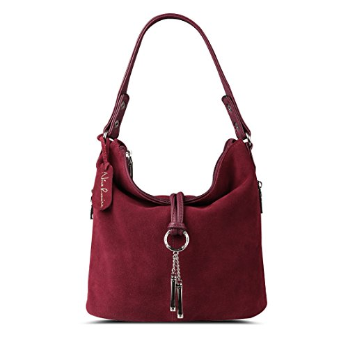 Nico Louise Women Split Real Leather Shoulder Bag Female Suede Crossbody handbag Casual Lady Messenger Hobo Top-handle Bags (Burgundy)