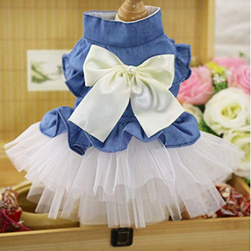 Jim-Hugh Pets Bow Dog Dresses Tutu Skirt Summer Puppy Clothes Outerwear for Small Princess Wedding Dress Accessories
