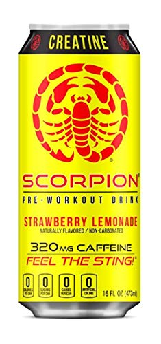 Scorpion Pre-Workout Drink, Strawberry Lemonade, BCAAS, CREATINE, CoQ10, 16fl.oz.(Pack of 8)