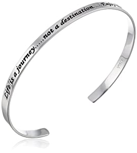 """Sterling Silver """"Life Is A Journey, Not a Destination, Enjoy The Moments"""" Cuff Bracelet by Amazon Curated Collection"""