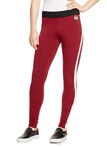 Michael Kors Womens-stripe Sporty Leggings Merlot Xl
