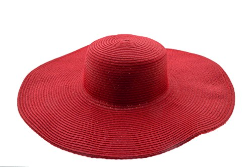 Wide Women Colorful Derby Large Floppy Folderable Straw Beach Hat (Red) (Red Beach Hat)