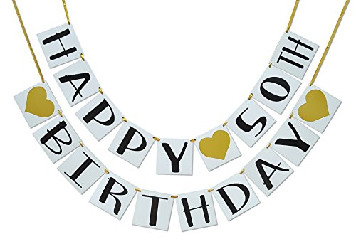 Happy 50th Birthday Banner - Gold Hearts and Ribbon - Birthday Decorations