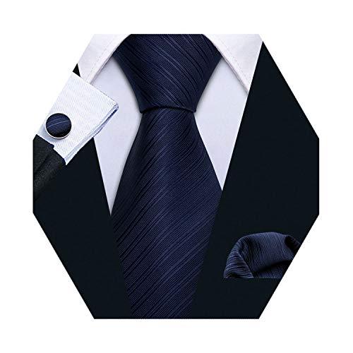 (Barry.Wang Mens Tie Set Solid Navy Blue Necktie Handkerchief Cufflinks Business Tie)