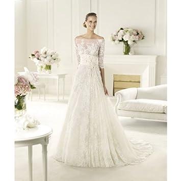 da22ba9647414 Amazon.com : A-line Off Shoulder Half Sleeves Lace Wedding Dresses : Beauty