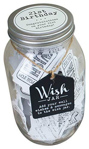 Top Shelf 21st Birthday Wish Jar  Unique Gift Ideas for Daughter Son Sister and Brother  Memorable Gifts for Men and Women  Kit Comes with 100 Tickets and Decorative Lid