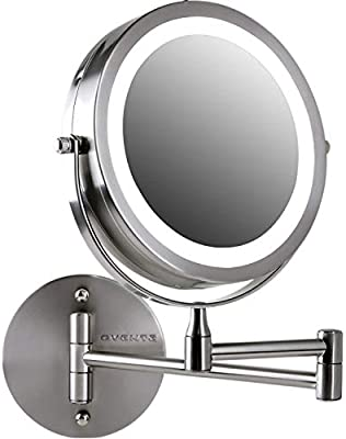 Lighted Makeup Mirror With Magnification.Ovente Wall Mount Led Lighted Makeup Mirror Battery Operated 1x 10x Magnification 7 Nickel Brushed Mfw70br1x10x