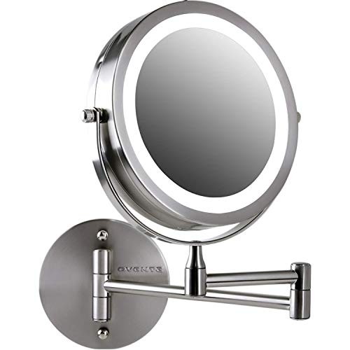 (Ovente Wall Mount LED Lighted Makeup Mirror, Battery Operated, 1x/10x Magnification, 7