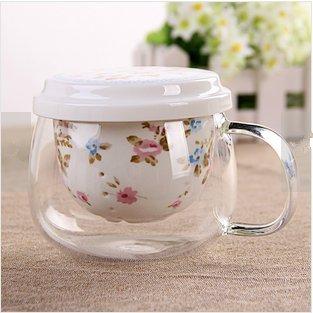 YF-TOW 301-400ml Personal Glass and Ceramics Made Tea Infuser & Mug, Teapot/Teacup (Blue)