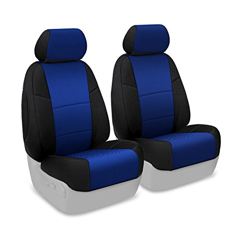 Coverking Custom Fit Front 50/50 Bucket Seat Cover for Select Chevrolet Monte Carlo Models - Spacermesh 2-Tone (Blue with Black Sides) - Monte Carlo Front Buckets