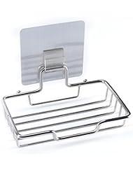TeaMaX Self Adhesive Soap Dish Stainless Steel Sponge Holder for Home Kitchen Bathroom Shower