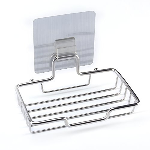 TeaMaX Self Adhesive Soap Dish + 2 Sticky Hooks Stainless Steel Sponge Holder Draining Dish for Home Kitchen Bathroom Shower