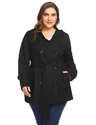 Womens Short Trench - IN'VOLAND Women Plus Size Hooded Double Breasted Solid Casual Trench Coat With Belt