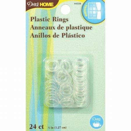 "Plastic Rings 1/2"" 24/Pkg-Clear"