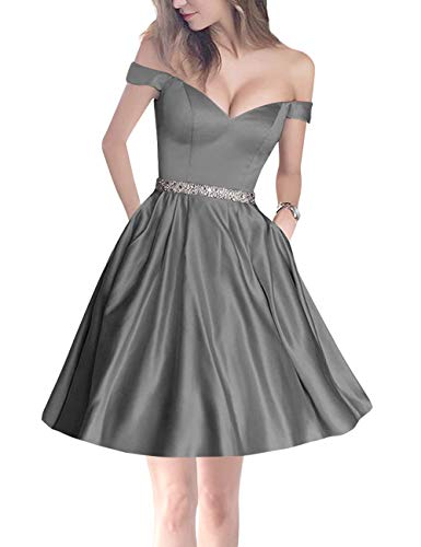 Homecoming Pockets Bridal Prom Party Off Women's Bess Grey Beaded Shoulder Steel Mini 0nwqxz4d