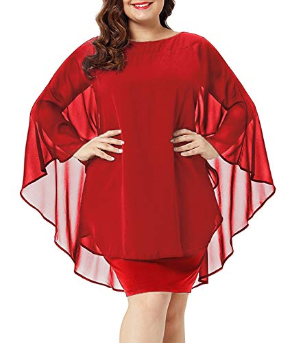 Urchics Womens Casual Chiffon Overlay Plus Size Cocktail Party Knee Length Dress Red XL