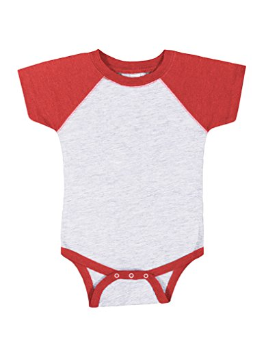 Rabbit Skins 100% Cotton Blank Infant Baseball Jersey Bodysuit Short Sleeve Bodysuit, VN Heather/VN Red, 12m