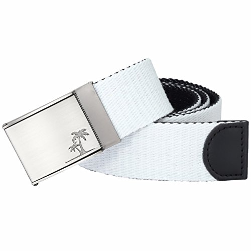 Samtree Men Women's Military Style Canvas Web Belt Removable Flip Top Buckle (White) (Printed Canvas Belt)