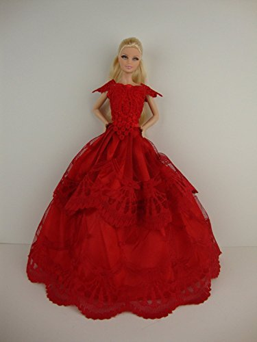 Stunning Red Ball Gown with Short Sleeves Made to Fit Barbie Doll