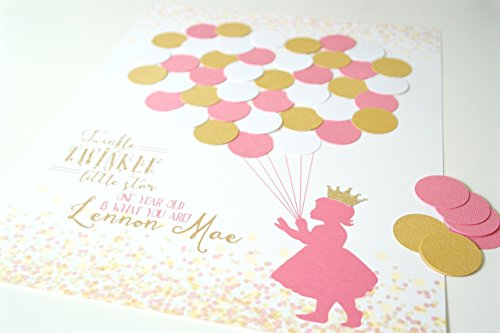 Twinkle Twinkle Little Star First Birthday Party Guest Sign In - Pink and Gold Princess Decorations