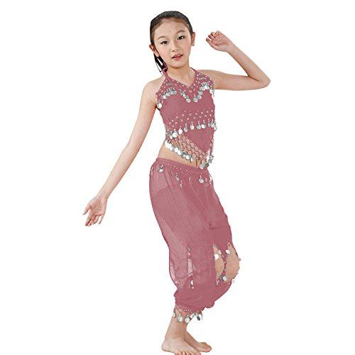 Hip Shakers Kids Professional Belly Dance Genie Costume with Silver Coins (Pink Genie Costume)