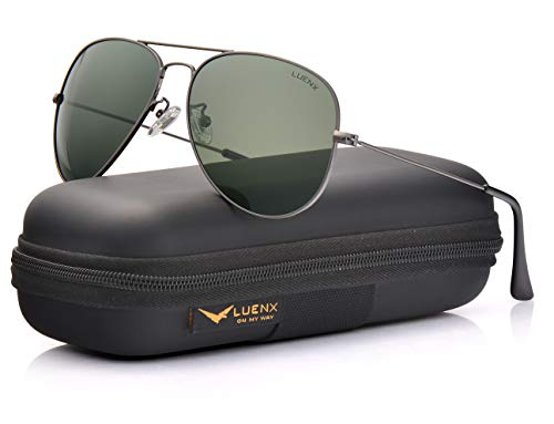 LUENX Men Women Aviator Sunglasses Grey Green Polarized Lens Gun Metal Frame Non-Mirror 60MM with Accessories Classic ()