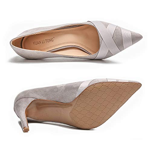 à De Chaussures Mariée Bal Stiletto Daytwork Talons Talons Toe Femme Gris Mode Bout Chaussures Hauts Femme De Mariage Soirée 1RqwnOxqE