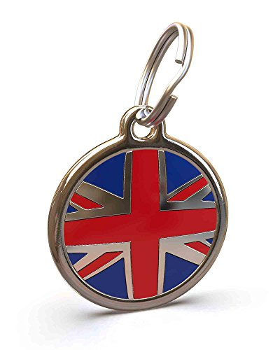 Posh Collars Cat - UNLEASHED.DOG Customizable Engraved Cat/Dog ID Tag - Stainless Steel with UK Flag Enamel Inlay - Small