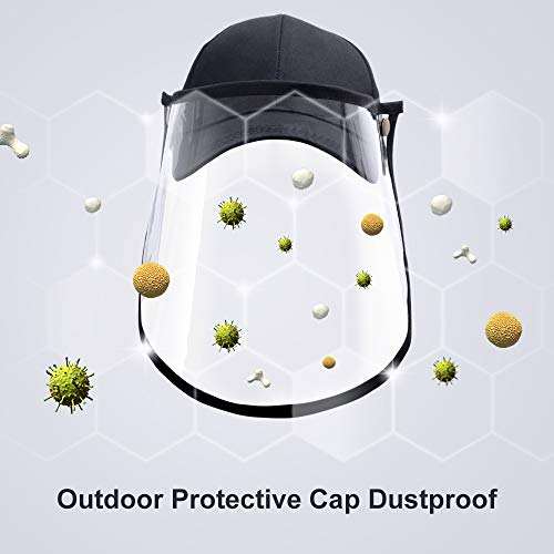 WERFORU Protective Hat with Face Mask Waterproof Clear Visor Face Hat Black Baseball Cap for Men and Women Detachable Full Face Hat Adjustable for Outdoor Activities 1Pack