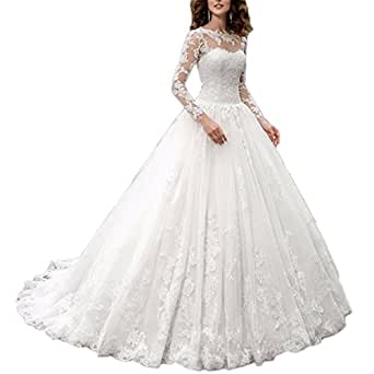 Westcorler Castle Princess China Wedding Dresses 2017 Lace Long Sleeve Plus Size Ball Gown (us10, white)