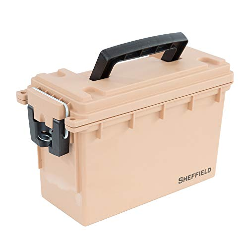 Sheffield 12627 Field Box | Great Camping Accessories or Ammo Storage Box & Tackle Box | Safe & Tamper-Proof with 3 Locking Options | Stackable, Dust & Water Resistant | Tan | Made in The U.S.A.