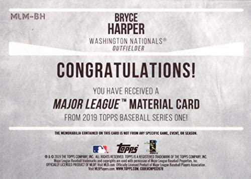 2017 Topps Tier One Relics #T1R-BH Bryce Harper Washington Nationals Game Worn Jersey Baseball Card Only 331 made!