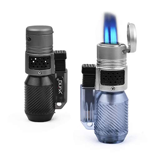 HUOWA Jet Torch Lighter Turbo Triple Flame with Visible Gas Window Butane Refillable Cigar Lighter 2 Pack