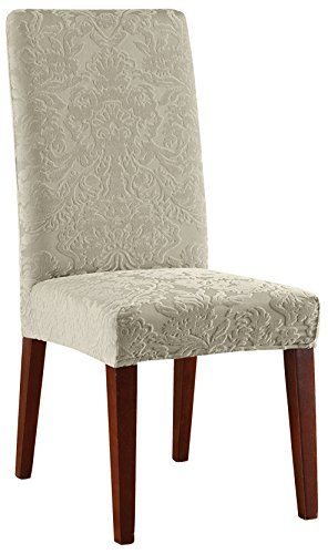 (SureFit Stretch Jacquard Damask - Shorty Dining Room Chair Slipcover  - Sage)