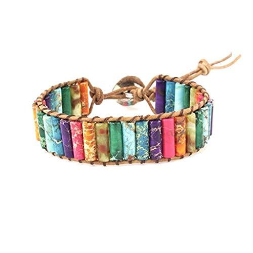 AckfulLeather Chakra Handmade Imperial Jasper Wrap Adjustable Bead Bracelet