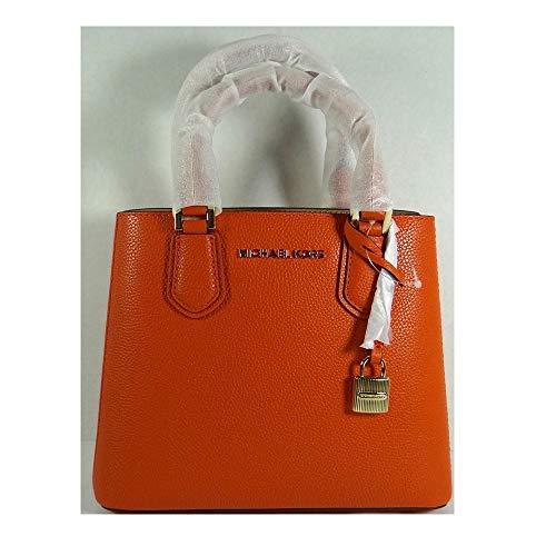 Michael Kors Adele Persimmon Pebbled Leather Medium Messenger Bag