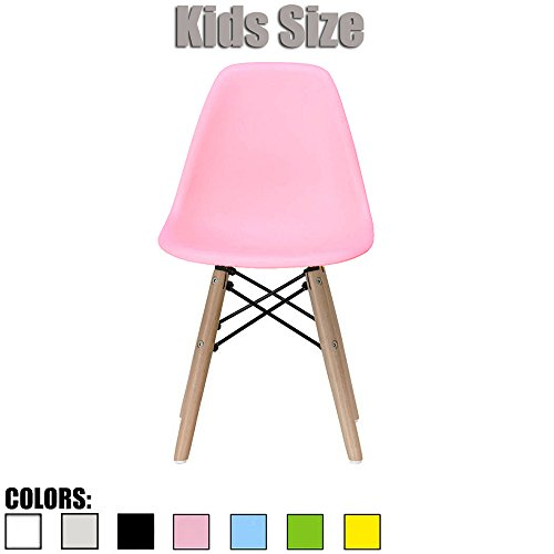 Side Imprint Areas (2xhome - Pink - Kids Size Side Chair Pink Seat Natural Wood Wooden Legs Eiffel Childrens Room Chairs No Arm Arms Armless Molded Plastic Seat Dowel Leg)