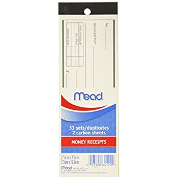 mead money receipt book with duplicates 66 sheets 64120
