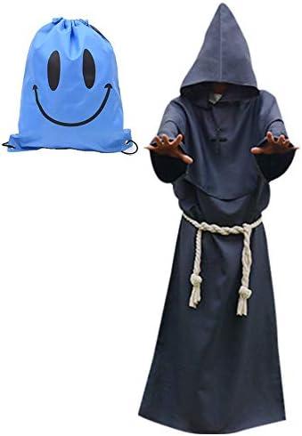 Mönch Robe Kostüm Mönch Priester Gewand Kostüm mit Kapuze Mittelalterliche Kapuze Herren Mönchskutte (XX-Large, Grau)