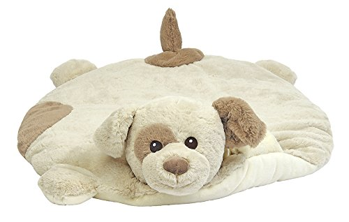 Bearington Baby Lil' Spot Belly Blanket, Beige Puppy Dog Plush Stuffed Animal Tummy Time Play Mat