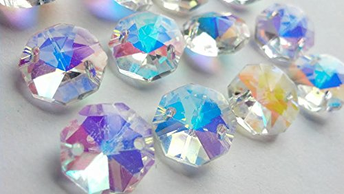 Chandelier Crystals 14mm Iridescent Octagon Prism Beads Pack of 12 Aurora Borealis AB - Ab 14mm Crystal Beads