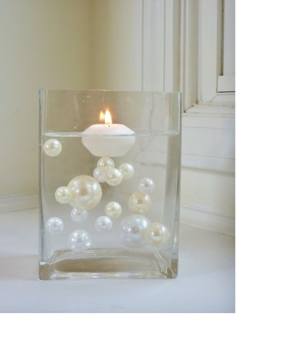 40 Jumbo & Assorted Sizes Ivory Pearls and White Pearls Vase Fillers - NOT INCLUDING THE TRANSPARENT WATER GELS FOR FLOATING THE PEARLS - Sold Separately... (Vinyl Vase)