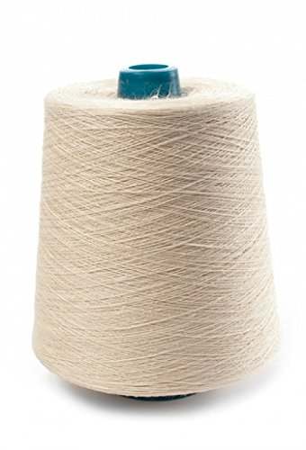 (100% Linen Lace Yarn Cream Red Turquoise Teal 1lb Cone 3-ply Flax (Cream))