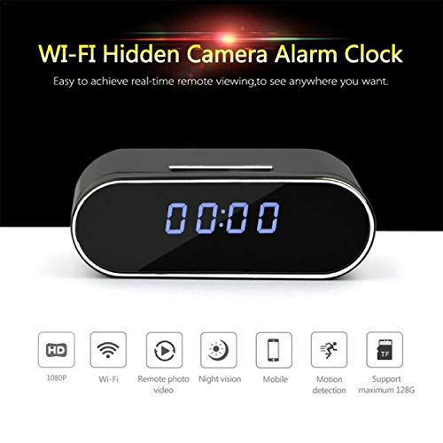 Spy Camera Clock 2.0MP 1080P Full HD Hidden Camera in Clock WiFi Hidden Cameras Video Recorder Wireless IP Camera for Indoor Home Security Monitoring Nanny Cam 140°Angle Night Vision Motion Detection
