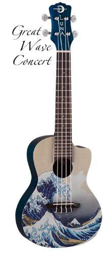 Luna Concert Ukulele with Gig Bag, Great Wave Graphic