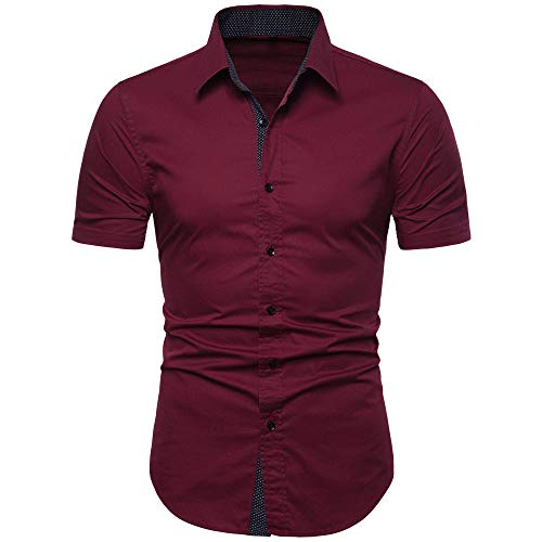 MUSE FATH Men's Cotton Casual Short Sleeve Button Down Point Collar Shirt-Wine Red C73-2XL