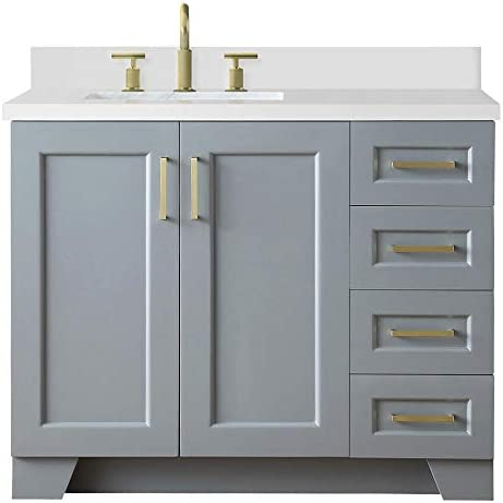 ARIEL Taylor 43 Inch Bathroom Vanity in Grey with White Quartz Countertop with Left Offset Rectangle Sink